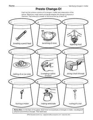 Worksheets Physical And Chemical Change Worksheet physical and chemical changes worksheet for kids change weather tools teaching pinterest tools